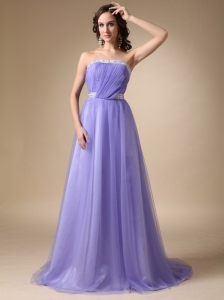 Lilac A-line Strapless Brush Train Prom Dress Beaded
