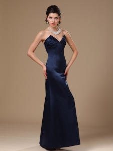 Navy Blue V-neck Prom Gowns Satin Column 2013