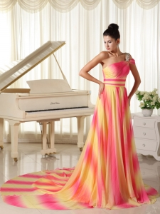 Ombre Beaded one Shoulder Prom Dress With Court Train