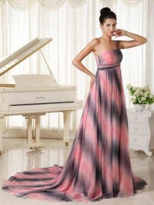 Ombre Chiffon One Shoulder Prom Dress With Court Train