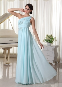 One Shoulder Chiffon Beaded Prom Dress Light Blue