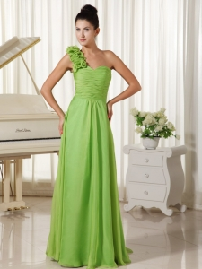 One Shoulder Prom Dress Watteau Train Spring Green