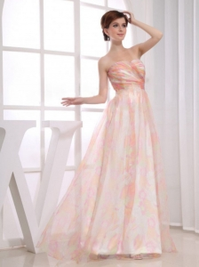 Print Strapless Floor-length Multi-color Prom Dress