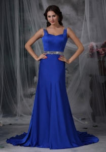 Royal Blue beaded Column Straps Court Train Prom Dress
