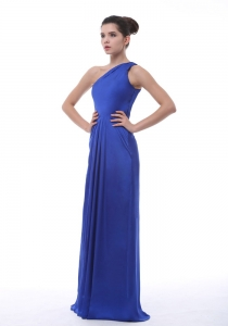 Royal Blue One Shoulder Floor-length Prom Dress 2013