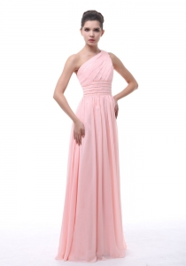 Ruched Baby Pink One Shoulder Floor length Prom Dress