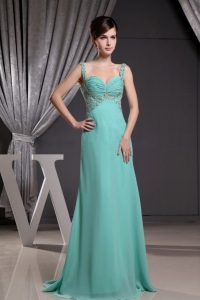 TurquoiseStraps Prom Dress Beadng Ruch Brush Train and