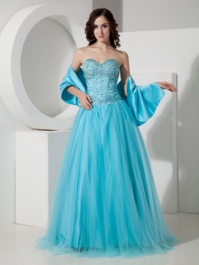 Turquoise Sweetheart Floor-length Tulle Prom Dress