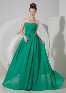 Turquoise Empire Sweetheart Brush Train 2013 Prom Dress