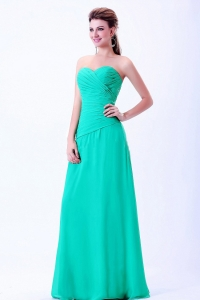 Turquoise Sweetheart Bridemaid Dress With Ruching