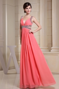V-neck Watermelon Prom Dress Floor-length beaded