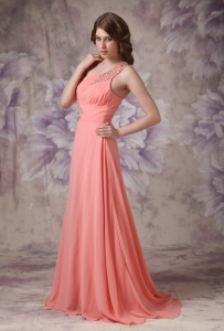 Watermelon One Shoulder Brush Train Beading Prom Dress