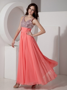 Watermelon Empire Straps Ankle-length Prom Dress