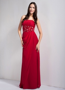 Wine Red Strapless Floor-legnth Bridesmaid Dress