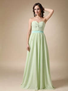 Yellow Green Sweetheart Floor-length Belt Prom Dress