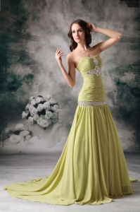 Yellow Green Mermaid Sweetheart Court Train Prom Dress