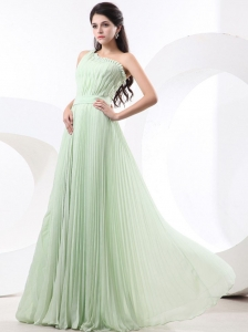 Apple Green Prom Dress One Shoulder 2013 Pleated