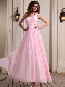 Baby Pink One Shoulder 2013 beaded Prom Dress ruched