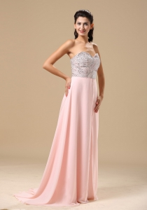 Beaded Sweetheart Light Pink Chiffon Brush Train Evening Dress