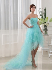 Beading High and Low Sweetheart High-low Aqua Prom Dress
