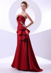 Beading Wine Red Sweetheart Floor-length Prom Dress