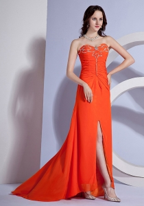 Beading Sweetheart High Slit Orange Red Prom Dress