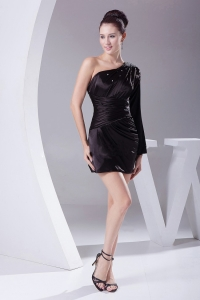 One Shoulder Long Sleeve Black Mini-length Cocktail Dress 2013