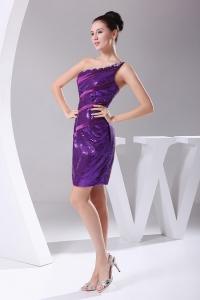 Beading One Shoulder Mini-length Purple Prom Dress on Sale