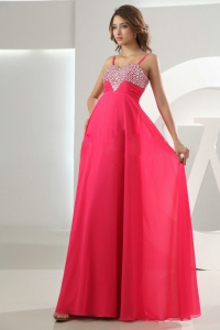 Beading Empire Chiffon Straps Hot Pink Floor-length Prom Dress