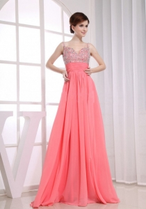 Beading Empire Straps Watermelon Floor-length Prom Dress