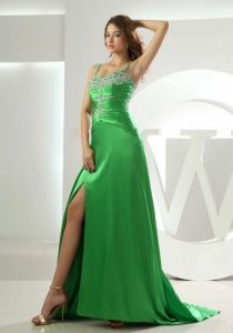 2013 Spring Green Beading Straps Prom Dress beaded