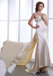 Beaded Champagne Watteau Train Straps 2013 Prom Dress