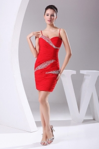 Beading Ruching Red Straps Mini-length 2012 Prom Dress