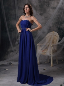 Blue Empire Strapless Prom / Celebrity Dress Court Train