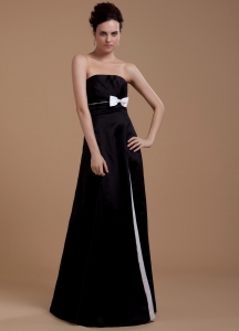Bowknot Empire Strapless Floor-length Prom Dress