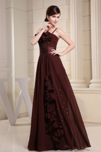 Brown Straps Prom Dress Hand Made Flowers and Beading