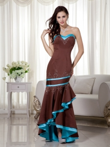 Brown and Blue Mermaid Sweetheart Asymmetrical Beading Prom Dress