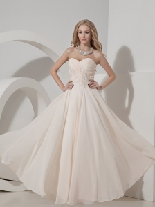 Champagne Sweetheart Floor-length Chiffon Appliques Prom Dress