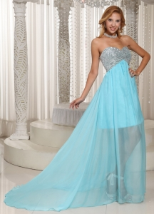 Prom Dress Sweetheart Beaded Brush Train For Party Style