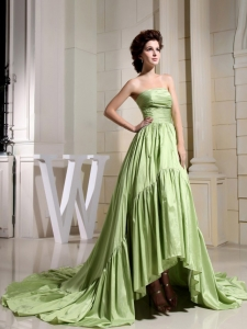 Lime Green Prom Celebrity Dress A-Line Strapless Court Train