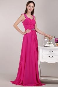 Fuchsia Empire Straps Floor-length Beading Pageant Dress