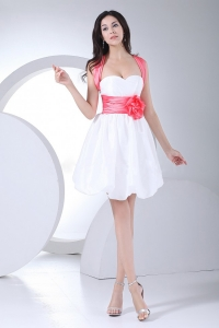 Hand Made Flowers Mini-length Cross Straps Prom Dress
