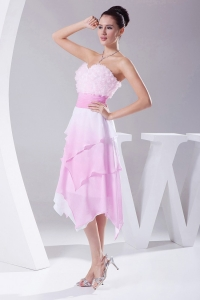 Ombre Fabric Asymmetrical Sweetheart 2013 Prom Dress with sash