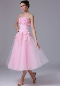Strapless tea length Pink Tulle 2013 Sweet Prom Dress