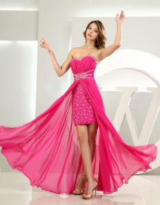 High-low Beading Floor-length Sweetheart Prom Dress Hot Pink