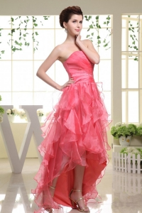 High-low Coral Red Prom Dress Rufflered Layers 2013