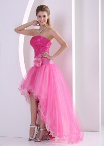 High low Hot Pink Seqince Prom Dress hand made flower