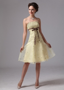 2013 Light Yellow Sash Knee-length Prom Dress beaded