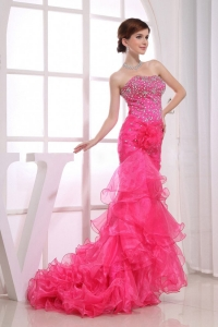 Mermaid Strapless Beading Prom Dress with Brush/Sweep Train