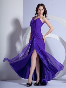 One Shoulder Beading Ruch 2013 Purple Prom Dress